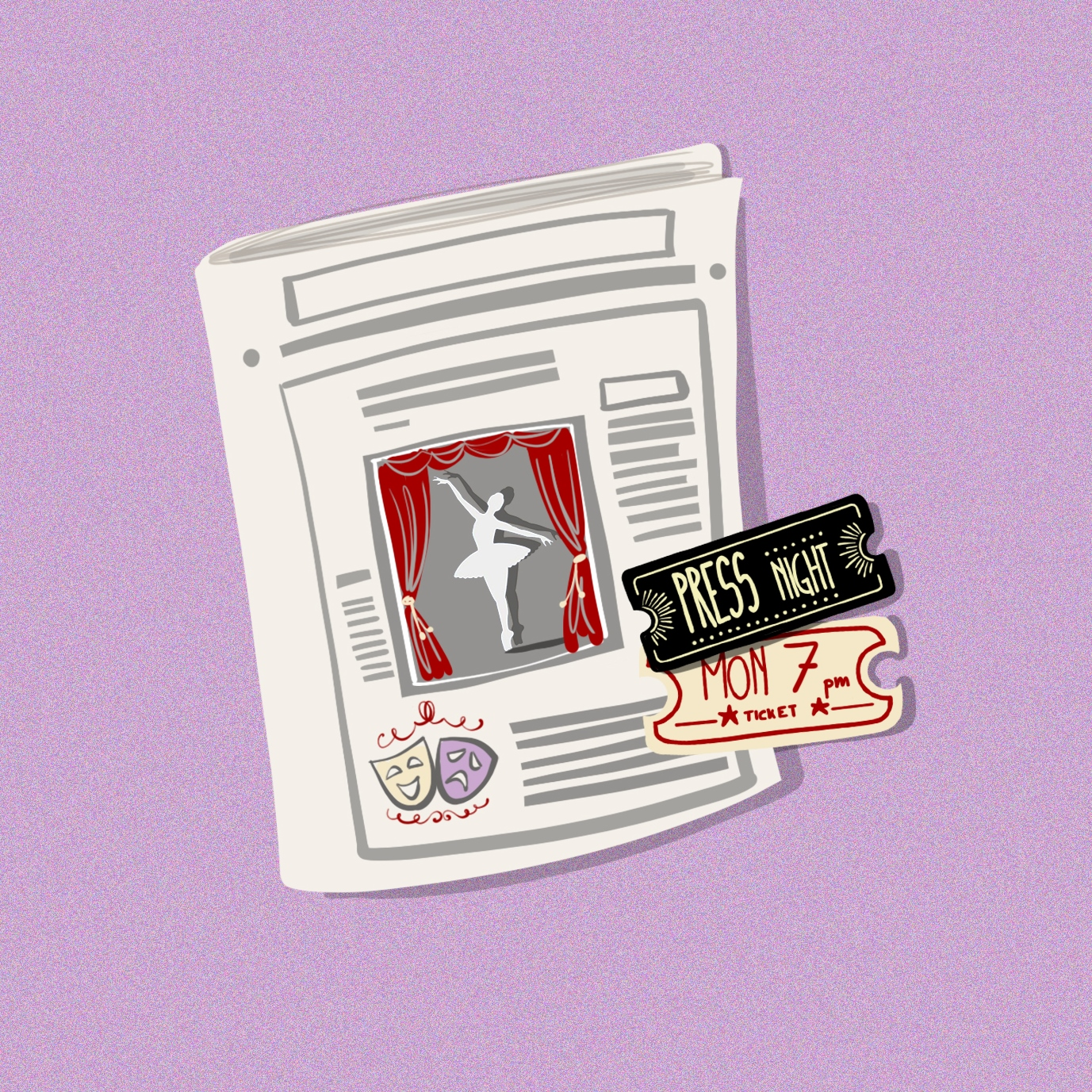 Illustration of a newspaper and press tickets, on a purple background. The front page of the newspaper features a silhouette of a ballerina dancing on a stage and the theatre masks symbol. Illustration by Gaia Leandri.