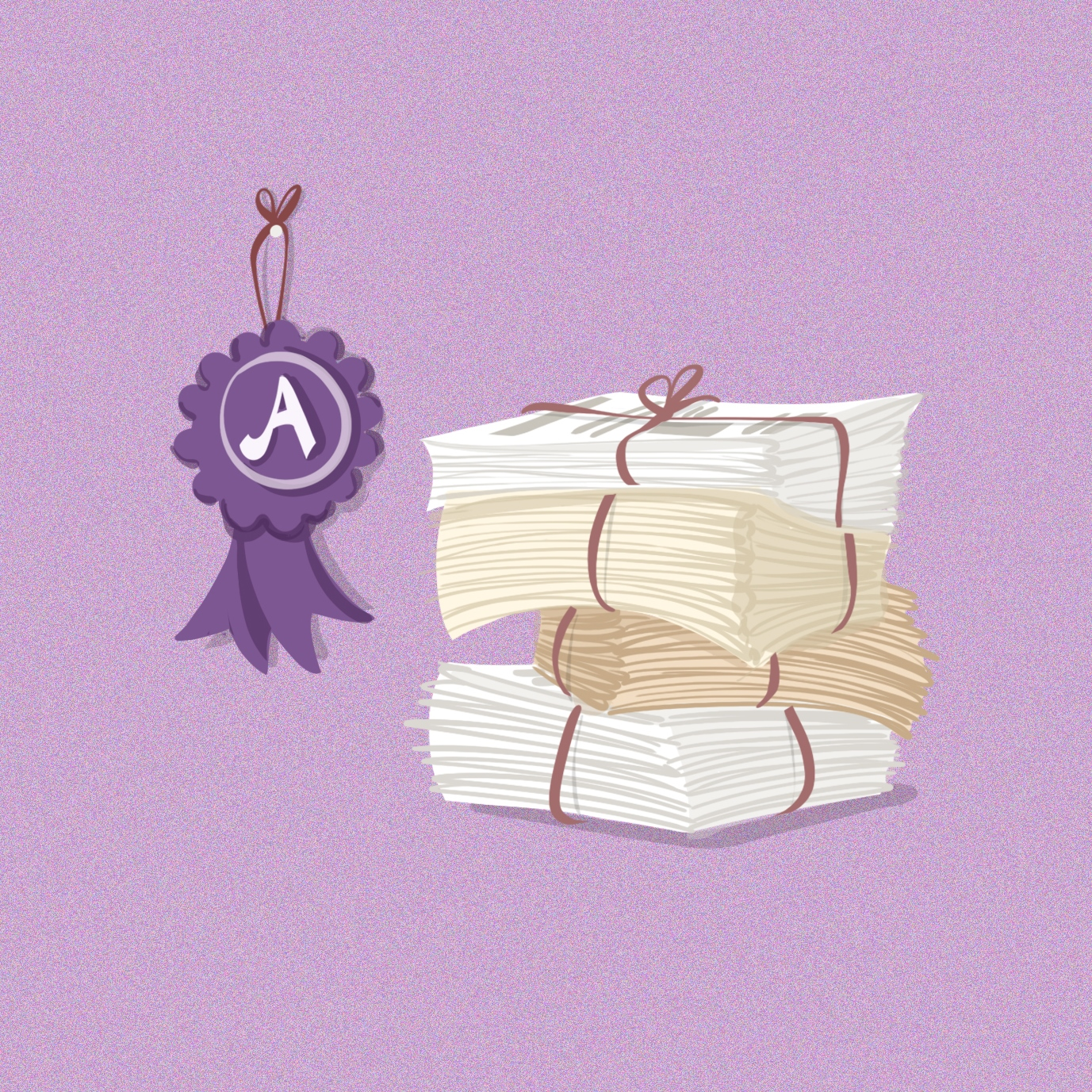 Illustration of a purple rosette and a pile of newspapers. The rosette has an 'A' on it to indicate an A grade. Illustration by Gaia Leandri.