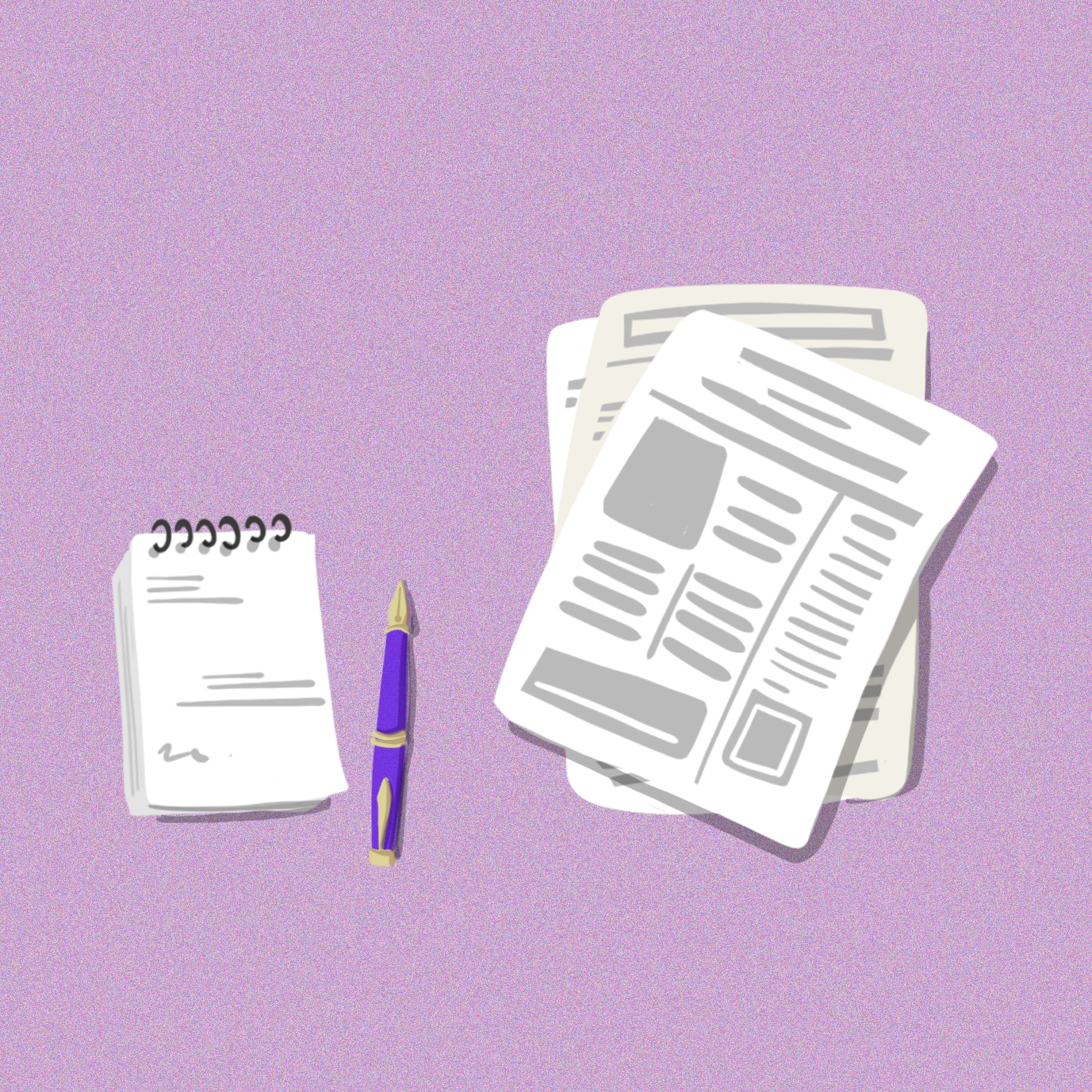 Illustration of a notepad, pen and newspapers, on a purple background. Illustration by Gaia Leandri.