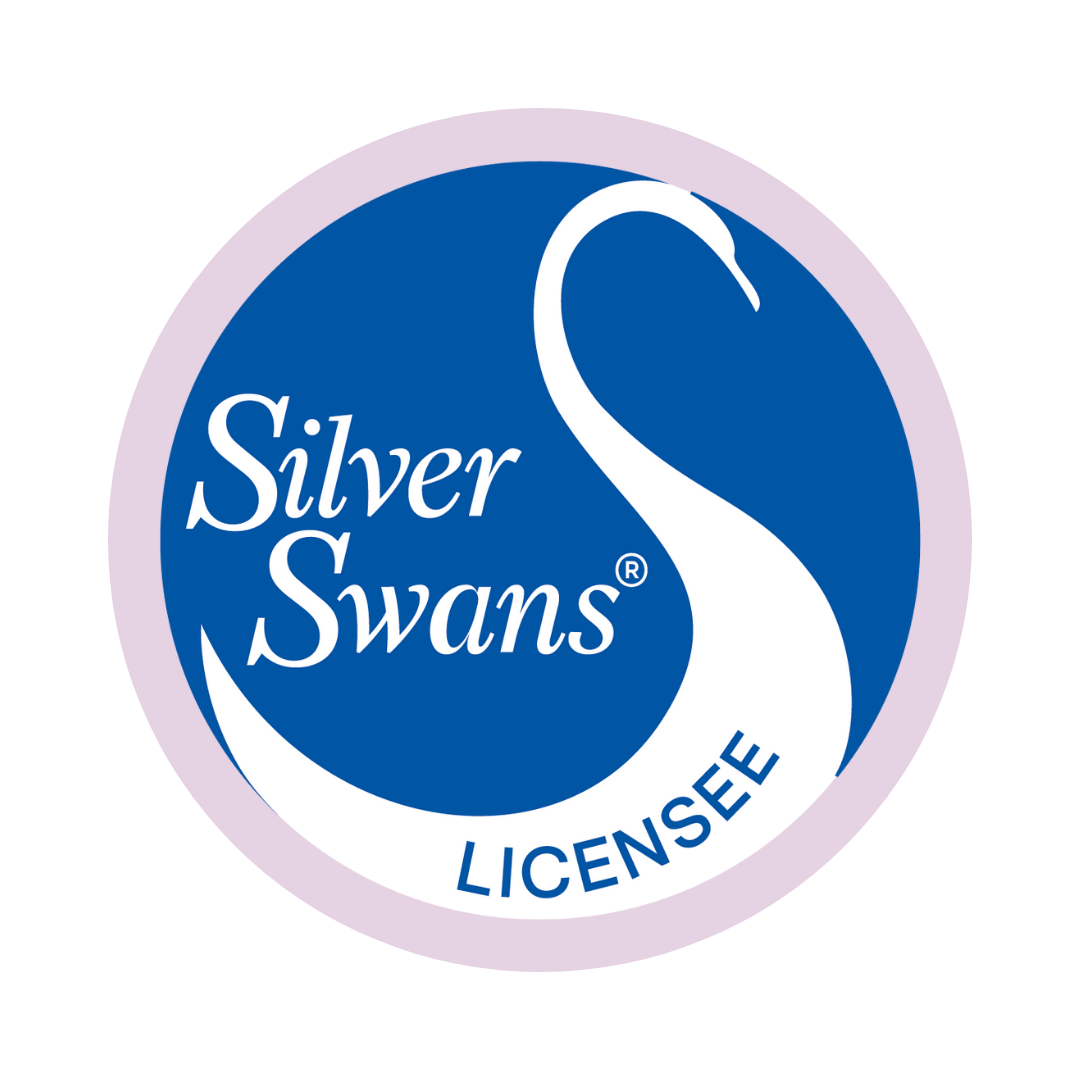 Royal Academy of Dance Silver Swans Licensee logo on a lilac background