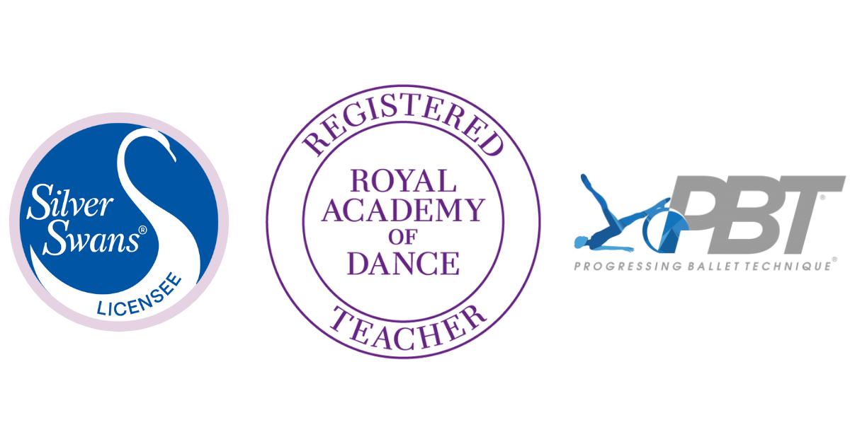 Royal Academy of Dance registered teacher logo, Silver Swans licensee logo and Progressing Ballet Technique certified teacher logo.