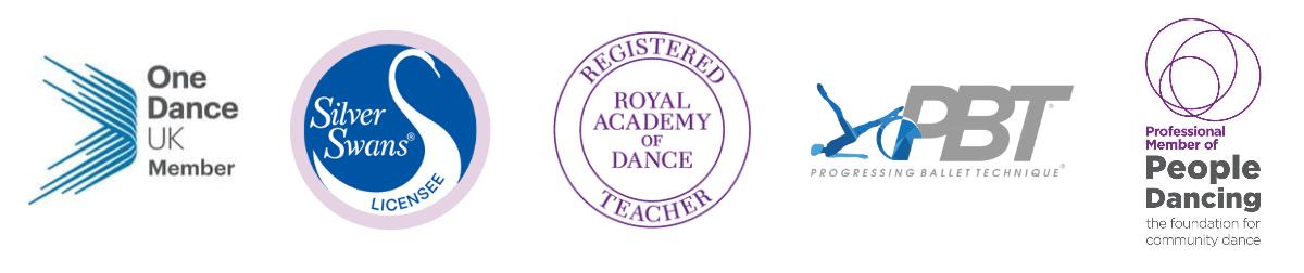 One Dance UK member logo. Silver Swans licensee logo. Royal Academy of Dance registered teacher logo. Progressing Ballet Technique logo. People Dancing professional member logo.