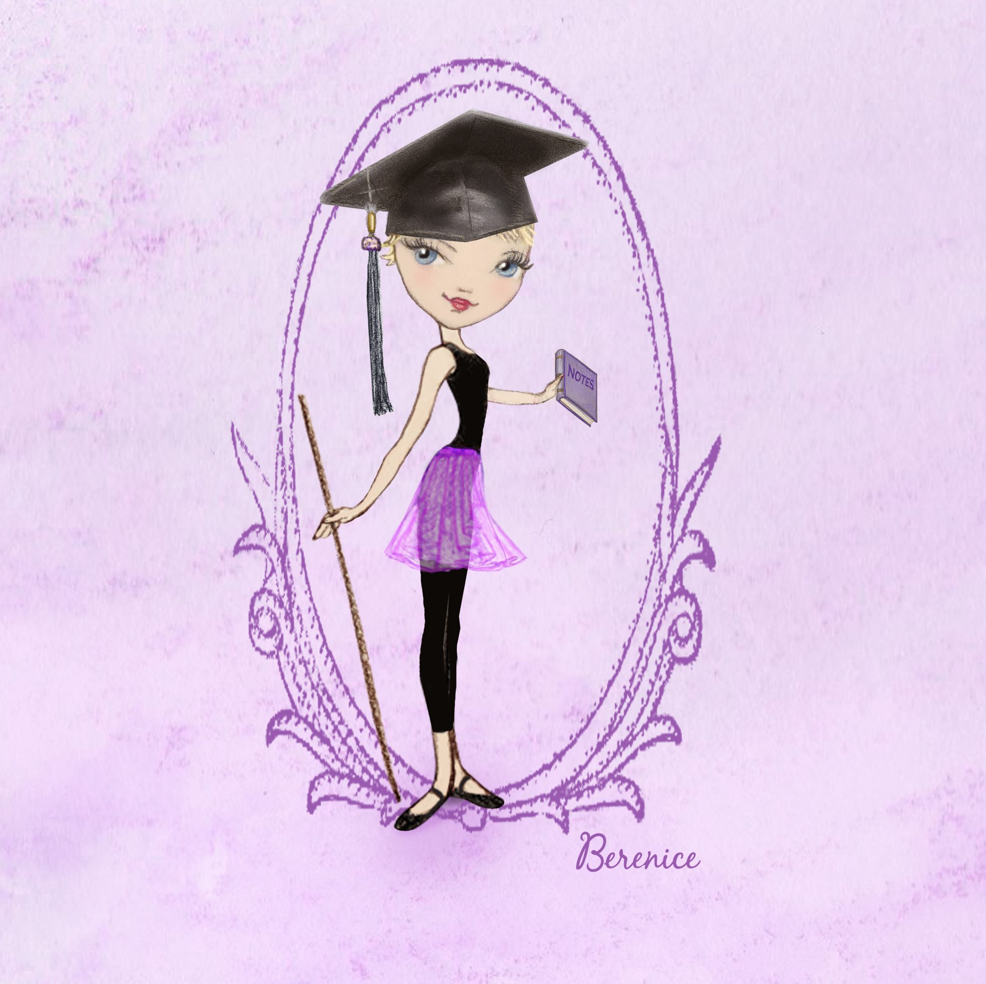 'Dance Teacher' illustration for Georgina Butler by Ballet Papier artist Berenice. An illustration of Georgina dressed in a black leotard and purple ballet skirt, with a graduate's mortarboard hat on her head. She is holding a notebook in her left hand. In her right hand she is holding an old-fashioned bamboo cane (historically used by ballet teachers to demonstrate verticality and correct placement to students).